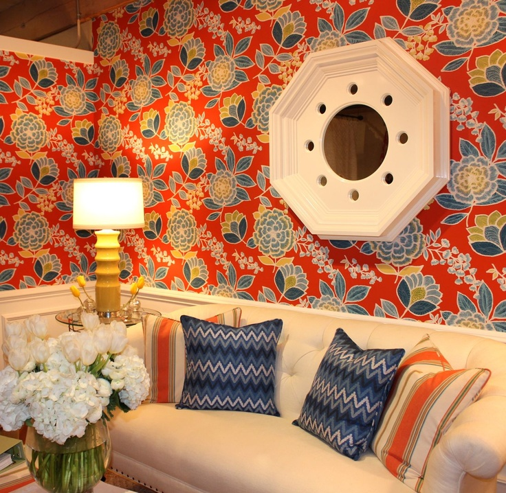 Thibaut - Market Square 315 Sulu Wallpaper Item T-13008 from the new Monterey Collection  #hpmkt #stylespotters Wallpaper is HOT and Thibaut has the boldest, brightest patterns that are right up my alley!