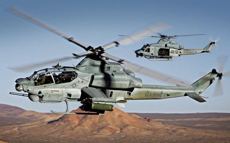 Aviones Caza y de Ataque: AH-1Z Viper    Armamento Puntos de anclaje: 6 para cargar una combinación de: Cohetes: Hydra 70 de 70 mm en lanzadores LAU-68C/A de 7 o LAU-61D/A de 19 cohetes. Misiles: 16x Misiles aire-superficie AGM-114 Hellfire montados en cuatro lanzadores M272 de 4 en los cuatro pilones. 2x Misiles aire-aire AIM-9 Sidewinder montados en el punto de anclaje del extremo de cada ala.