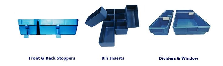 Front and back stoppers are available to use in combination with our shelving units to prevent bins from falling of shelving. Our small storage insert units are handy for tiny bits and pieces, especially when organising your drawers!