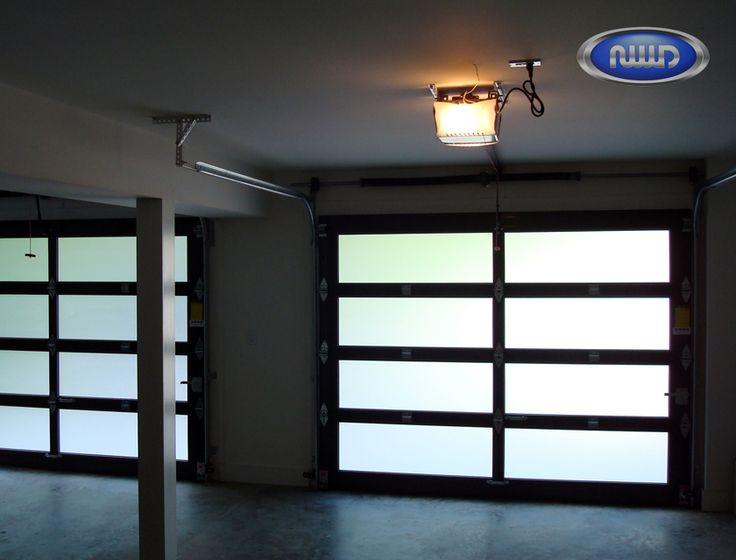 Modern Classic MC42 Dark Bronze Anodized Finish   Satin Etch Glass    Interior   Garage Doors