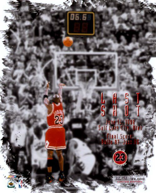 "The ""Last Shot"", in the 1998 NBA FInals Against the Utah Jazz. Michael Jordan is releasing the shot that won game, the 1998 Finals and the 6th NBA Championship for the Bulls - June 14, 1998 - Salt Lake City, Utah - Chicago Bull 87 Utah Jazz 86 * Image property of AllPosters.com. All rights reserved."