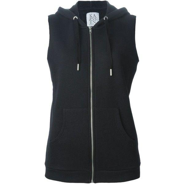 Zoe Karssen Sleeveless Zipped Hoodie (885 ARS) ❤ liked on Polyvore featuring tops, hoodies, shirts, outerwear, black, vestes, hoodie vest, black zipper hoodie, zippered hooded sweatshirt and black shirt