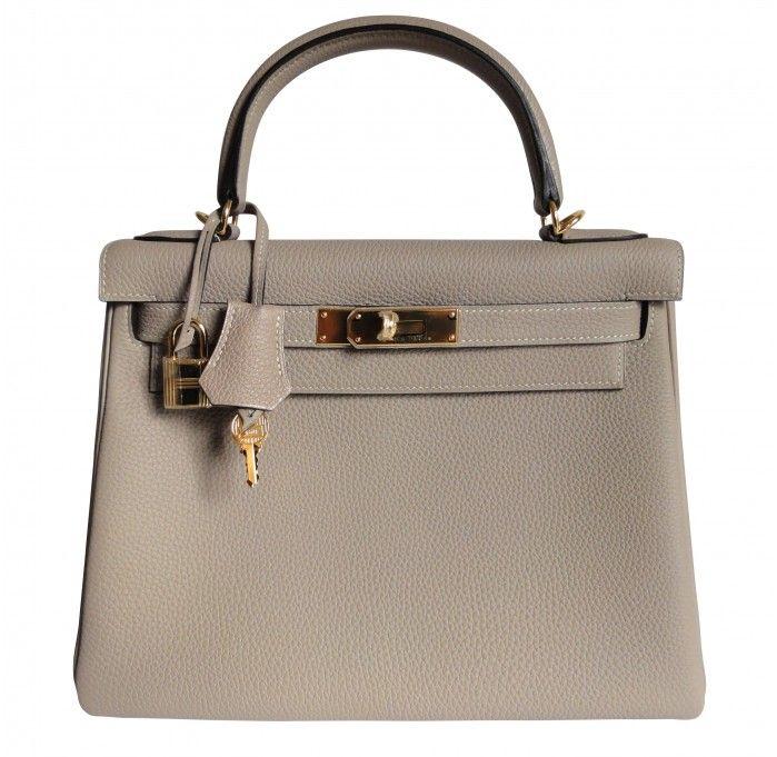 Hermes Kelly Bag 28cm Gris Tourterelle Dove Grey Togo Gold ...