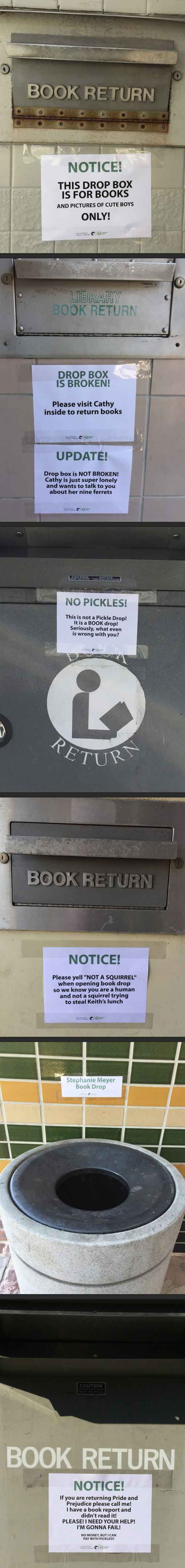 """Stephanie Meyer book drop"" should also be ""E.L. James book drop."""