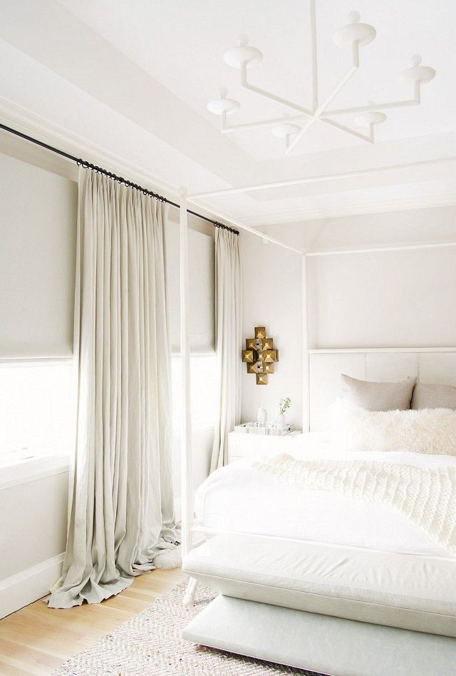 """""""Ready-made window draperies hung on expandable rods instantly cheapen the look of a bedroom,"""" says Suvalsky. The solution? """"With a little…"""