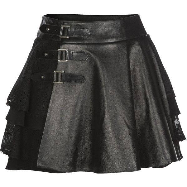 Mairi McDonald - Cherie Lace & Leather Kilt ($925) ❤ liked on Polyvore featuring skirts, bottoms, lace skirt, knee length leather skirt, panel skirt, leather panel skirt and lacy skirt