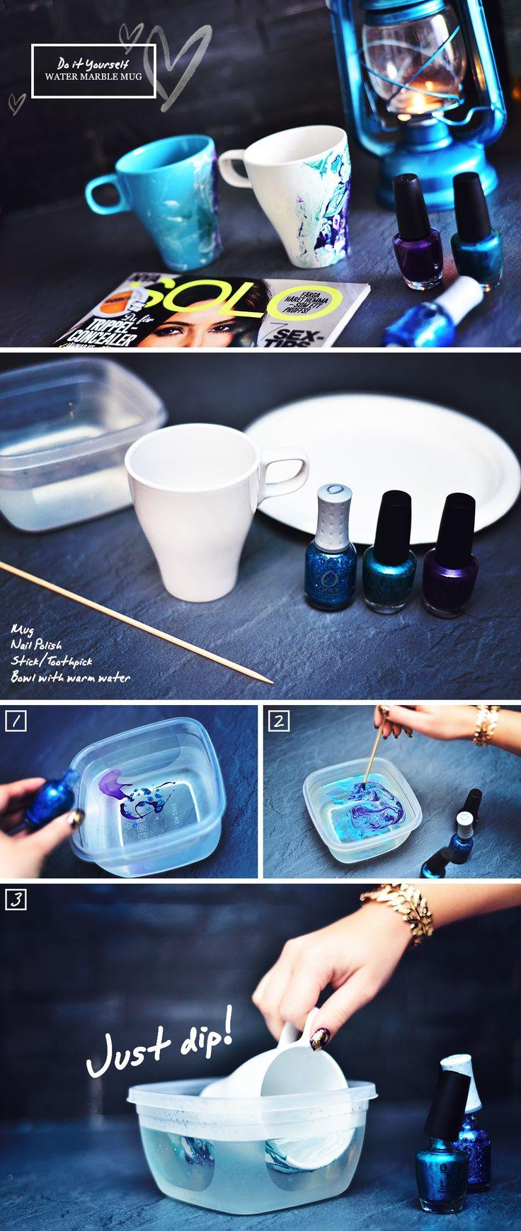 DIY - Water Marble Mug http://www.adaras.se/diy-water-marble-mugg/ #diy #adaras #adarasblogazine