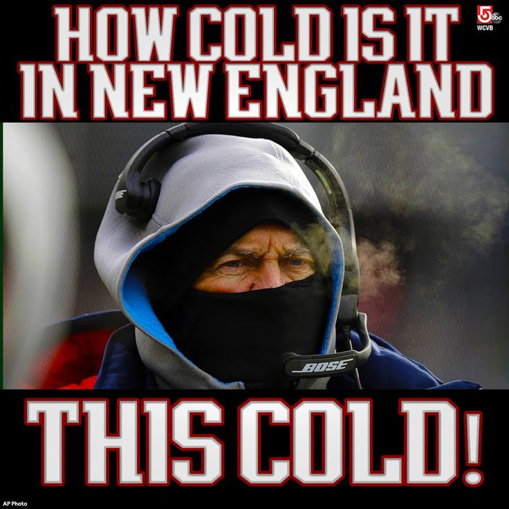 You know it's cold when the hoodie isn't enough for Patriots head coach Bill Belichick.