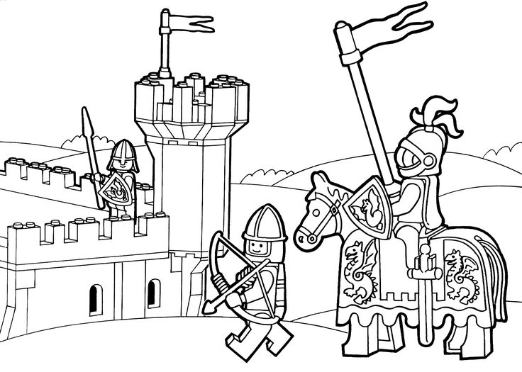 Lego Duplo knights coloring page for kids, printable free ...