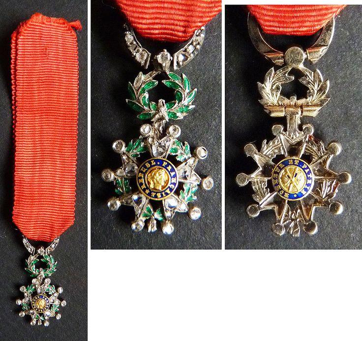 Médaille miniature LÉGION D'HONNEUR en Or + argent + diamants + émail 19e siècle in Art, antiquités, Objets du XIXème, et avant | eBay