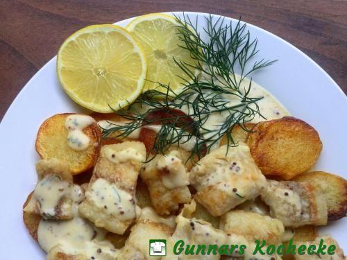 Hamburger Pannfisch mit Senfsauce - #Rezept
