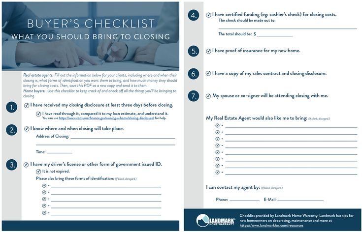 A Buyers Checklist On What To Bring To Closing Day For Their New