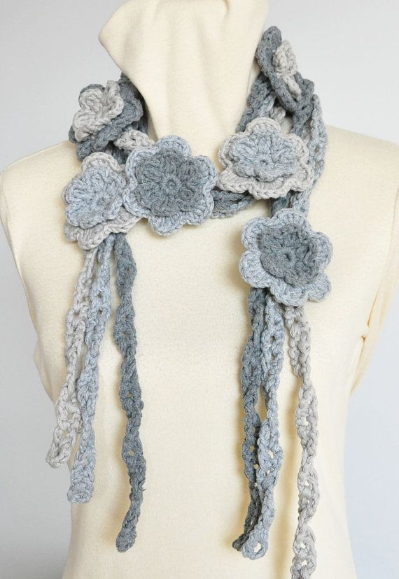 Thanks for looking. This scarf is made with 3 shades of grey chunky cotton yarn, all hand crochet, 9pcs of 3 2-layer flowers, the length is about