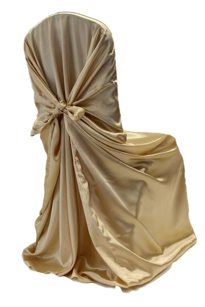 Universal Satin Self Tie Chair Cover Champagne New Tone