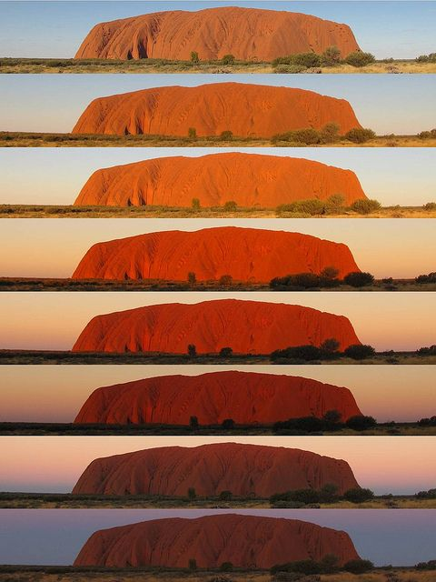 Someday I will see it: The legandary colour change of Uluru during sunset.