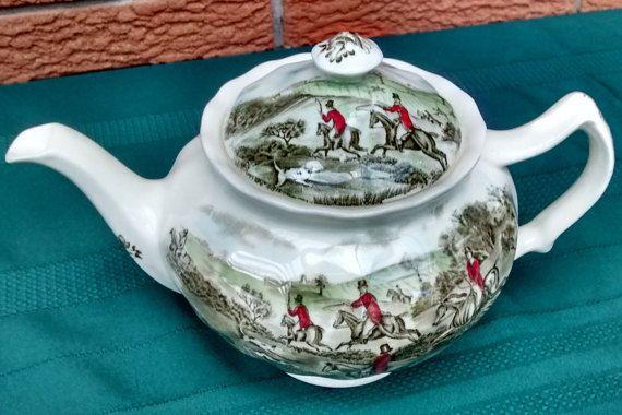 RARE Johnson Brothers TALLY HO Teapot The Jump Johnson Bros
