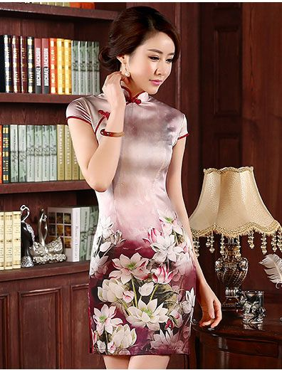 Pink Floral Mulberry Silk Qipao / Cheongsam Dress