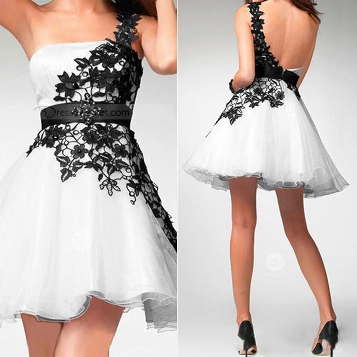 2016 New arrival Black and White Prom Dresses One-Shoulder Appliques Sleeveless A bove keen mini Cocktail Dresses Good Quality