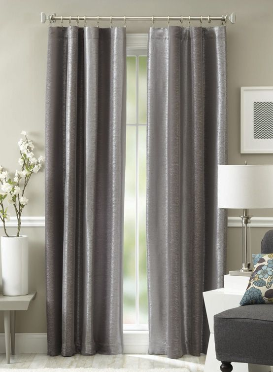 Embrace this year's favorite neutral color and adorn your windows with these on-trend metallic patterned Graphite Curtain Panels.