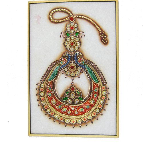 India Art Embossed Miniature Painting of Indian Jewelry Necklace on Marble Plate by ShalinIndia, http://www.amazon.com/dp/B0069LGBRK/ref=cm_sw_r_pi_dp_nl09rb1A07GK0