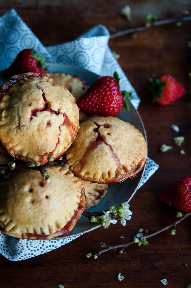 Rhubarb and strawberry hand pies with rose, vanilla