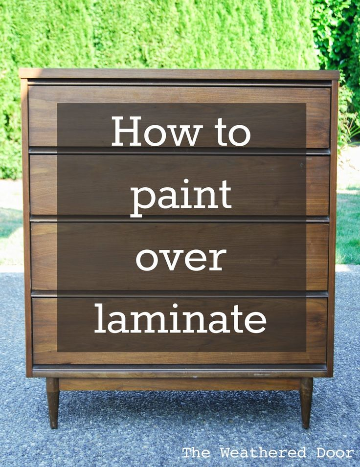 How to Paint Over Laminate: http://www.theweathereddoor.com/2014/11/how-to-paint-over-laminate-and-why-i.html