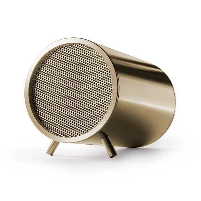The cylindrical speaker in either brushed stainless steel or brass-plated or copper-plated steel is meant to complement Leff's original tubular nightstand clock. Leff Tube Audio speaker connects to media devices via Bluetooth, USB and auxiliary input cable. High-quality audio in a relatively small package (just 2 inches in diameter.)