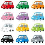 いろいろな色の車のキャラクターのイラスト