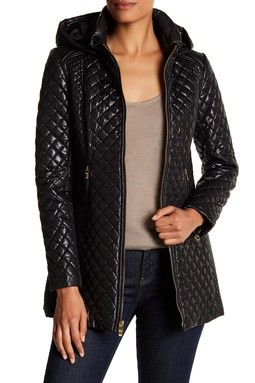 Diamond-Quilted Hooded Jacket