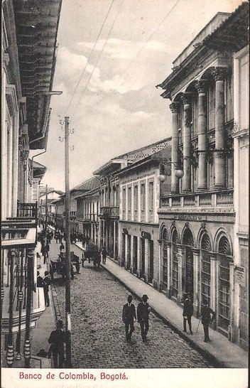 Banco de Colombia en Bogotá, hacia 1920.