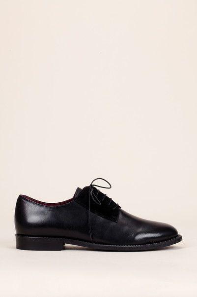 Derbies noires cuir lisse/velours Diantha - Jonak