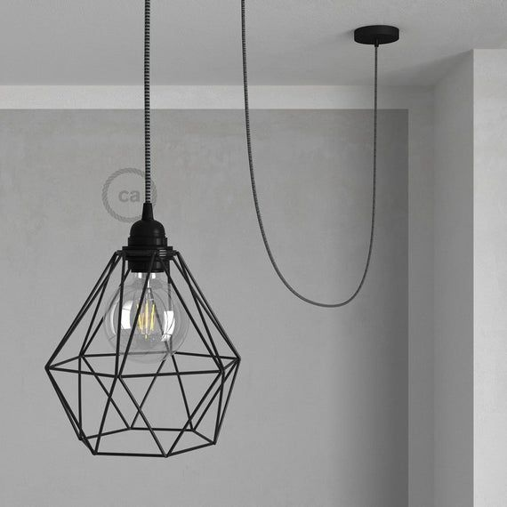 Swag Lamp Pendant Light With Black Diamond Light Bulb Cage Etsy Cage Pendant Light Diamond Light Bulb Pendant Light