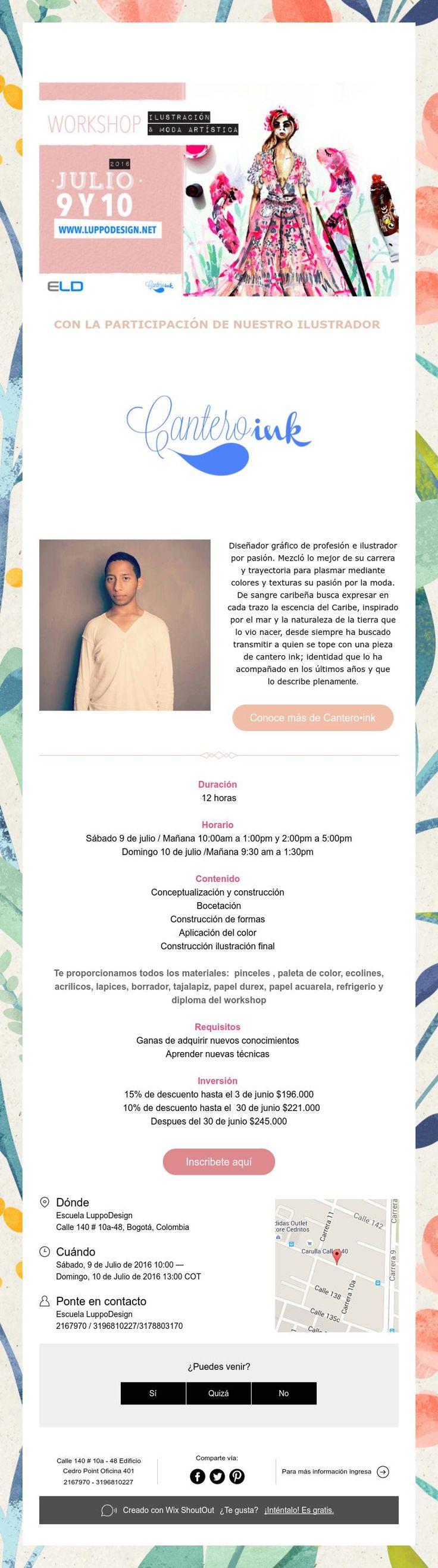 Nuevo workshop ilustración y moda artística