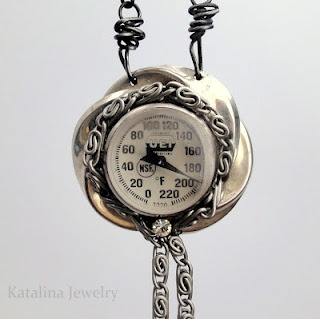 A gorgeous necklace made from an old kitchen thermometer - genius!