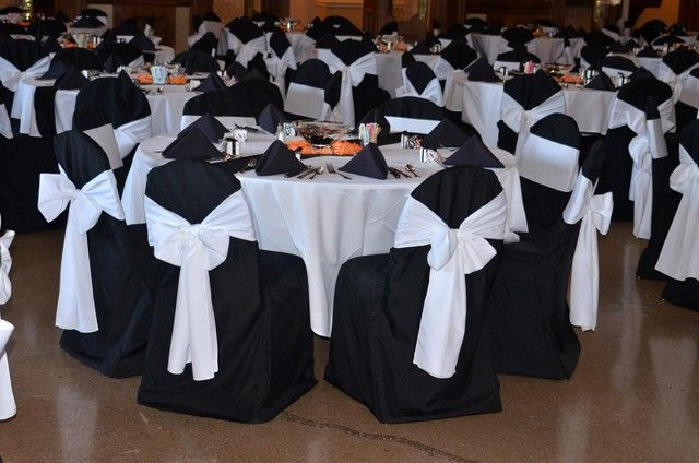 Image detail for -Black chair covers really bring out the white sash tied in a bow