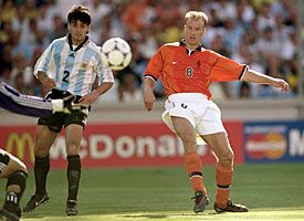 Dennis Bergkamp of The Netherlands scores a goal against Argentina in the 1998 World Cup in France.