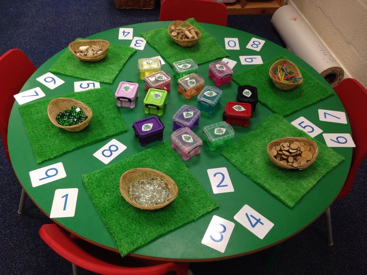 Maths invitation with loose parts and numerals