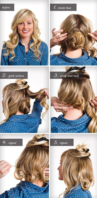Lovely How To Make Long Hair Short: Faux Bob Hair Tutorials   Pretty Designs. Find  This Pin And More On Christmas Party Hairstyles ...