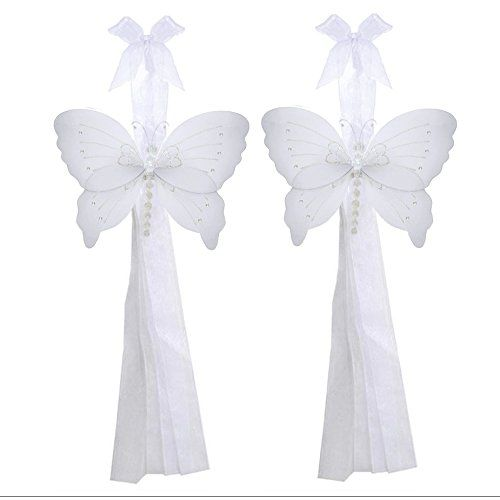 Butterfly Curtain Tiebacks White Crystal Nylon Butterflies Pair Set Decorations Window Treatment Holdback Sheer Drapes Holder Drapery Tie Back Decorate Baby Nursery Bedroom Girl Room Kids Decor Home -- You can find more details by visiting the image link.