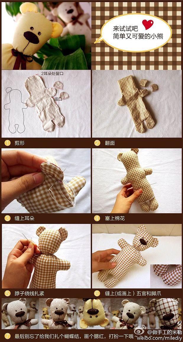Tecido feito à mão DIY diy.  Simples e bonito urso de pelúcia