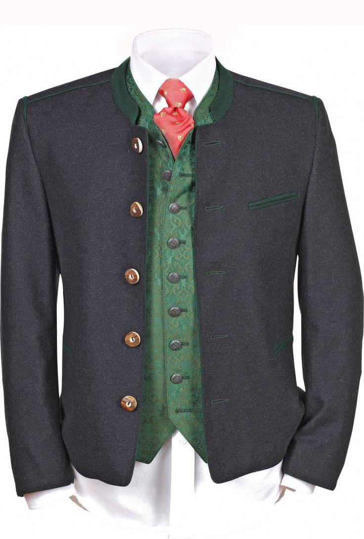 Wunderschöner traditionelleranthrazitfarbener Janker überzeugt mit trachtigen Details. Eine Jacke, ein unverzichtbares trachtiges Basic für die Herren, toll kombinierbar zur kurzen Lederhose, aber auch zu langen und Kniebundlederhosen. [Unser Preis: 249,00€]