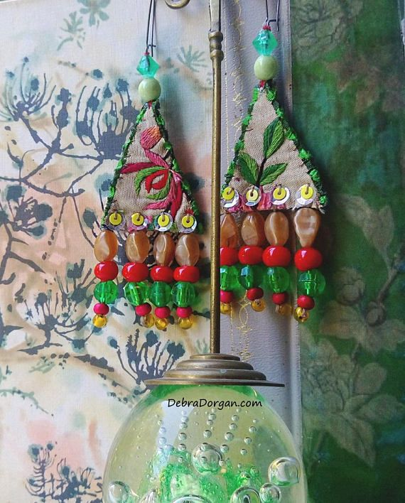 Tropical Rain Forest Earrings, Vintage Embroidery, Woven, Amulet, Boho Earrings, Pretty, Dangle Earrings, Large Earrings