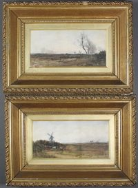 "Lot 409 R Hume RBA, watercolour drawings a pair, studies of Norfolk landscape with figures, sheep, cattle and distant windmill, signed, 6.5"" x 13"", est £150-250"