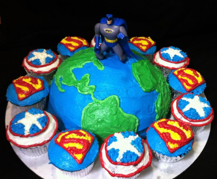 Superhero birthday cake batman superman captain america for Door of faith orphanage