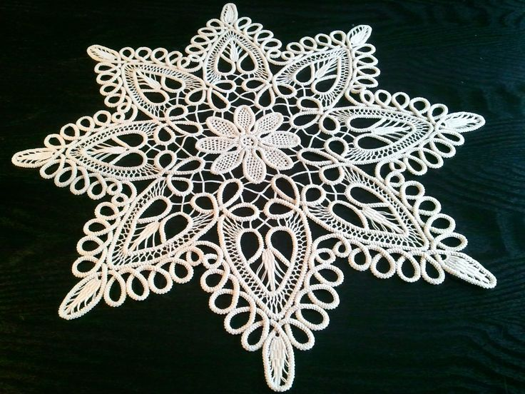 romanian point lace | Crocheted Doily, Romanian Point Lace Crochet Doily, Ecru (Beige ...