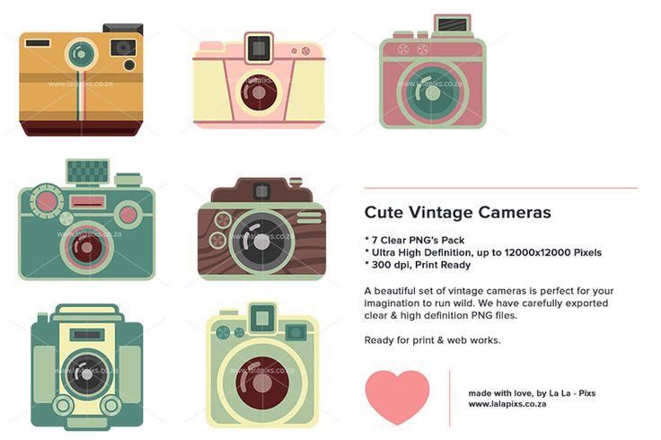 Cute Vintage Cameras - Digital Download High-Res PNG by La La - Pixs