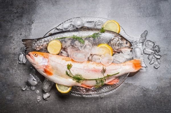 Two Fish, Ice Cubes and Lemon Slices on a Platter