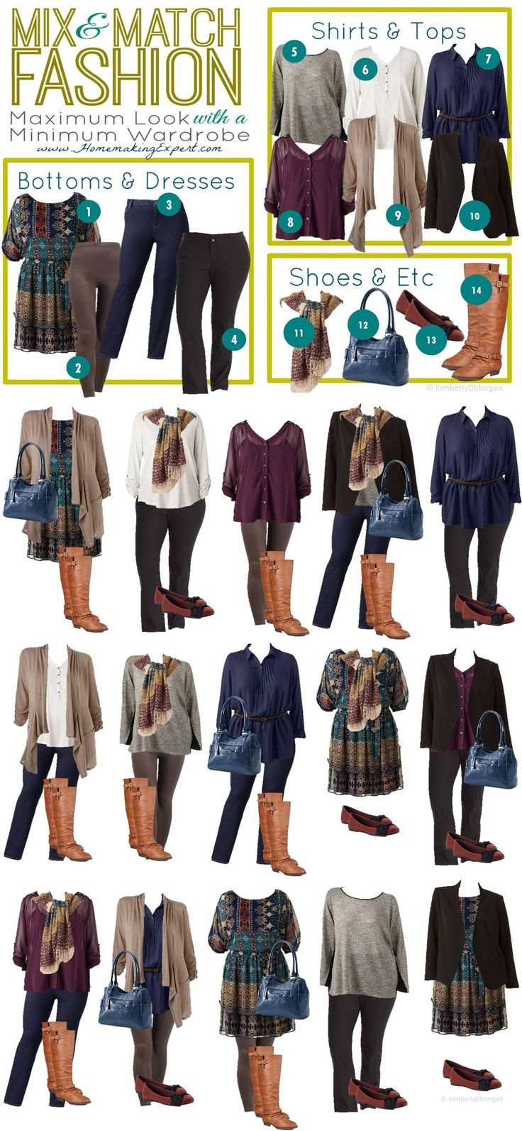 Create 15 plus size outfits out of just 14 affordable fashion items from Kohl's.  Plus Size Fashion * Plus Size Outfits * Winter Outfits