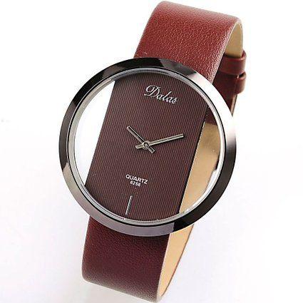 Dalas Coffee Leather Transparent Dial Fashion Lady Girl Wrist Quartz Watch Gift WAA032