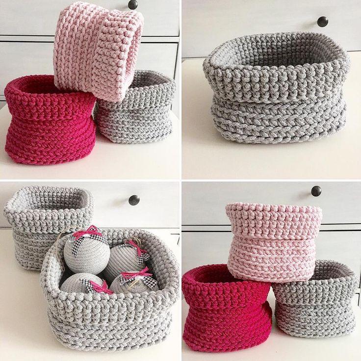 Корзинки из шнура для вязания